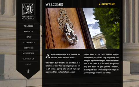 Screenshot of Home Page ashtonroseconcierge.co.uk - Ashton Rose Concierge | Private concierge service in London - captured Oct. 4, 2014