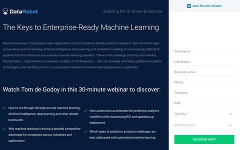 Screenshot of Landing Page datarobot.com - The Keys to Enterprise-Ready Machine Learning - DataRobot - captured Sept. 19, 2018