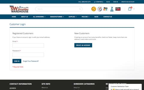 Screenshot of Login Page shredderwarehouse.com - Customer Satisfaction Team says… - captured Sept. 20, 2018