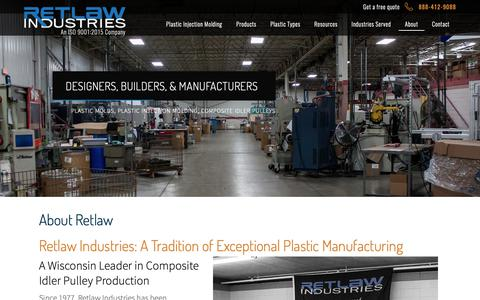 Screenshot of About Page retlawindustries.com - Plastic Injection Molding Company | Thermoplastic Manufacturers USA | Custom Plastic Manufacturers Wisconsin | Plastic Part Design Considerations  | Retlaw Industries Inc. Hartland, Wisconsin - captured Oct. 20, 2018