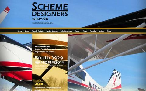 Screenshot of Home Page schemedesigners.com - Scheme Designers • Custom Aircraft Paint Schemes and Vinyl Designs for All Types of Aircraft - captured Oct. 4, 2014