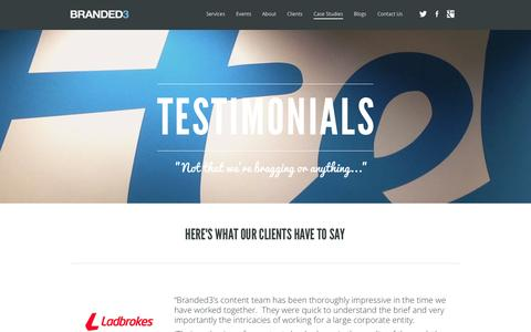 Screenshot of Testimonials Page branded3.com - Testimonials | Branded3 - captured Sept. 18, 2014