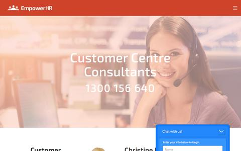 Screenshot of Support Page empower-hr.com - Customer Centre Consultants — EmpowerHR by Fusion5 - captured Aug. 7, 2017