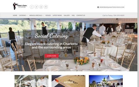 Screenshot of Home Page waiterschoice.com - Waiter's Choice Caterers Charlotte NC - captured Oct. 7, 2014