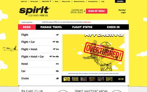 Screenshot of Home Page spirit.com - Spirit Airlines - cheap tickets, cheap flights, discount airfare, cheap hotels,         cheap car rentals, cheap travel - captured Sept. 4, 2015