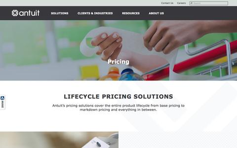 Screenshot of Pricing Page antuit.com - Price Optimization Experts | Pricing Solutions Company in US, Europe & Asia Pacific - Antuit - captured May 30, 2017