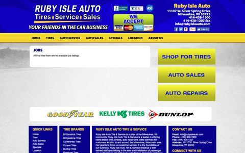 Screenshot of Jobs Page rubyisleauto.com - Milwaukee, WI Tires Shop Jobs :: Ruby Isle Auto Tire & Service - captured Dec. 6, 2016
