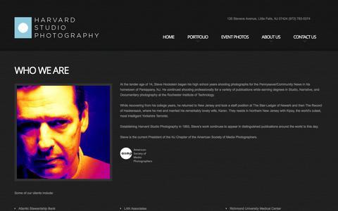 Screenshot of About Page harvardstudio.com - NJ Photographer Steve Hockstein: Harvard Studio Photography, Little Falls, NJ, About Us - captured Jan. 26, 2016