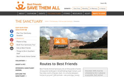 Screenshot of Maps & Directions Page bestfriends.org - Directions to Best Friends Sanctuary | Best Friends Animal Society - captured July 21, 2019