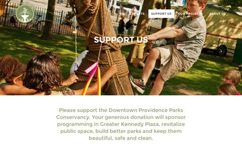 Screenshot of Support Page provparksconservancy.org - Support Us - Downtown Providence Parks Conservancy - DPPC - captured June 3, 2016