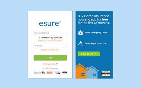 screenshot of login page esurecom log in esure captured april 15