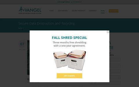 Screenshot of Blog vangelinc.com - Vangel Inc. Blog   Baltimore Paper Shredding, Data Destruction - captured Dec. 13, 2016