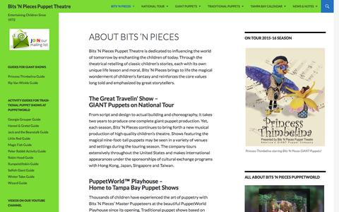 Screenshot of About Page puppetworld.com - About Bits 'N Pieces | Bits 'N Pieces Puppet Theatre - captured Feb. 7, 2016