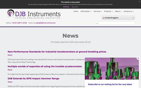 Screenshot of Press Page djbinstruments.com - News - captured Aug. 5, 2018
