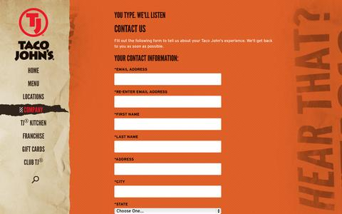 Screenshot of Contact Page tacojohns.com - Taco John's Company Information | Contact Us - captured Sept. 19, 2014