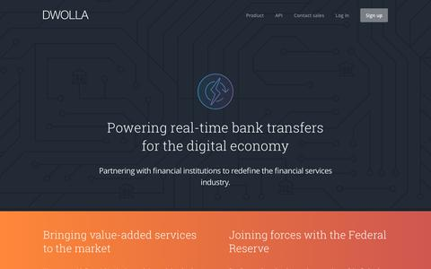Screenshot of dwolla.com - Dwolla   Real-time payments for financial institutions - captured March 24, 2016
