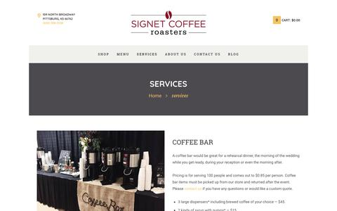 Screenshot of Services Page signetcoffee.com - services - Signet Coffee Roasters - captured Nov. 3, 2017