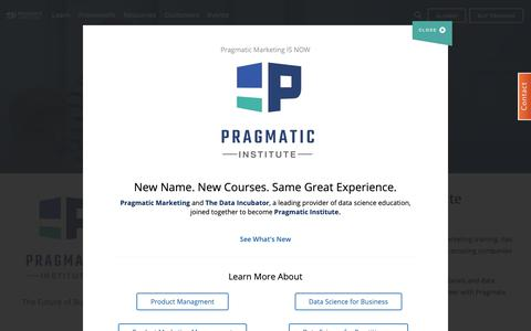 Screenshot of Home Page pragmaticmarketing.com - Pragmatic Institute: Product Management & Marketing Training - captured Feb. 16, 2019