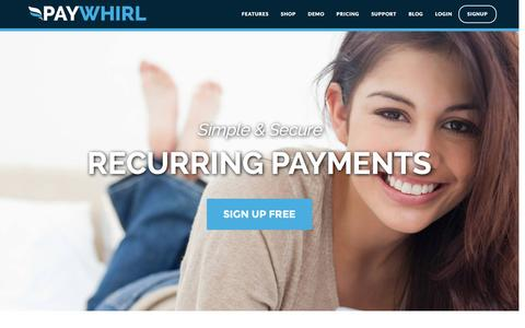 Screenshot of Home Page paywhirl.com - Recurring Payments and Subscriptions - Paywhirl - captured Dec. 5, 2015