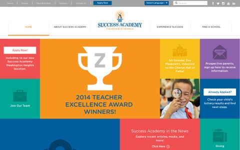 Screenshot of Home Page successacademies.org - Success Academy - captured July 11, 2014
