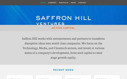 Screenshot of Home Page saffronhill.com - Saffron Hill Ventures - captured Oct. 1, 2018