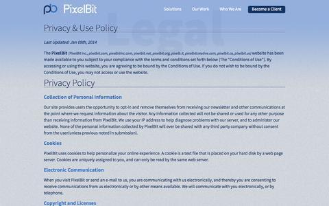 Screenshot of Terms Page pixelbit.com - PixelBit — Legal Bits - captured Sept. 30, 2014