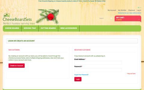 Screenshot of Login Page cheeseboardsets.com - Customer Login - captured Dec. 8, 2015