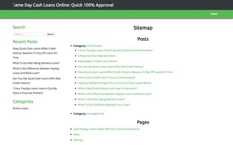 Screenshot of Site Map Page cashiecommerce.com - Sitemap | Same Day Cash Loans Online: Quick 100% Approval - captured July 16, 2018