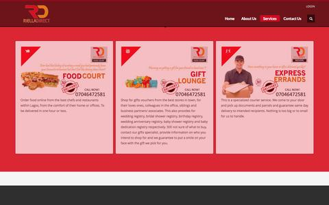 Screenshot of Services Page rielladirect.com - Riella Direct | Services - captured Nov. 4, 2014