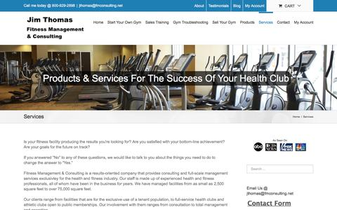 Screenshot of Services Page fmconsulting.net - Gym Consulting, Gym Sales Training, Gym Marketing, New Gym Start Up | Jim Thomas, Fitness Management and Consulting - captured Jan. 27, 2016