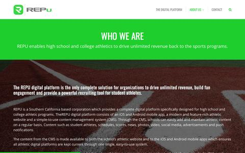 Screenshot of About Page repusports.com - About Us - REPu - captured May 6, 2017