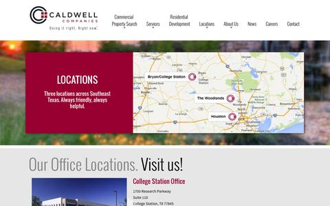 Screenshot of Locations Page caldwellcos.com - Locations | Development | Brokerage | Investment | Management | Caldwell Companies - captured Oct. 1, 2014