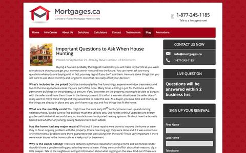 Screenshot of Blog mortgages.ca - Mortgage Blog - Mortgages.ca | Canada's Trusted Mortgage Pros - captured Oct. 26, 2014