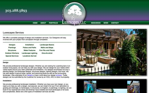 Screenshot of Services Page luxescapes.net - Luxescapes - Landscape Design and Installation Contractor - Greater Denver Area - Services - captured Sept. 30, 2018