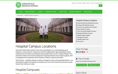 Screenshot of Locations Page ghs.org - Hospital Campus Locations - Greenville Health System - captured Sept. 24, 2014