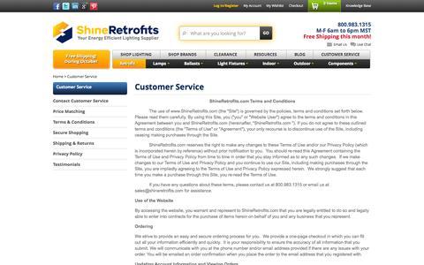 Screenshot of Support Page shineretrofits.com - Customer Service - captured Nov. 3, 2015