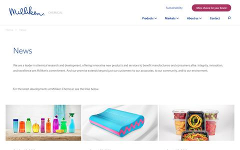 Screenshot of Press Page milliken.com - Milliken Chemical - News - captured Nov. 15, 2018