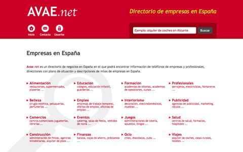 Screenshot of Home Page avae.net - Empresas en España - captured June 12, 2016