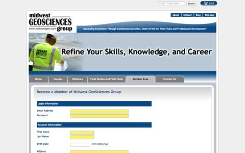 Screenshot of Signup Page midwestgeo.com - Become a Member of Midwest GeoSciences Group - captured Oct. 7, 2014