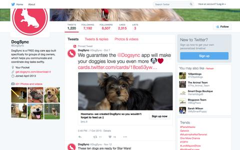 Screenshot of Twitter Page twitter.com - DogSync (@DogSync) | Twitter - captured Nov. 14, 2015