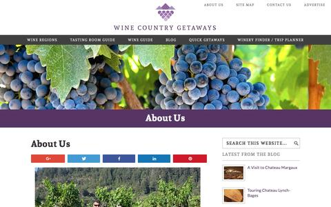 Screenshot of About Page winecountrygetaways.com - About Us - Wine Country Getaways - captured Sept. 18, 2016