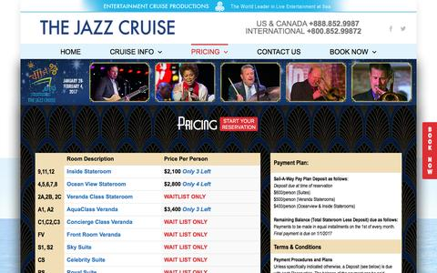Screenshot of Terms Page Pricing Page thejazzcruise.com - Pricing | The Jazz Cruise - captured Dec. 31, 2016