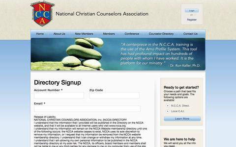Screenshot of Signup Page ncca.org - Licensed professional counselor training, Christian marriage counseling – National Christian Counselors Association - captured Dec. 8, 2016