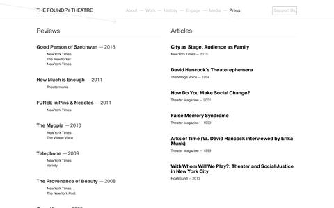 Screenshot of Press Page thefoundrytheatre.org - The Foundry Theatre | Press - captured Oct. 26, 2014