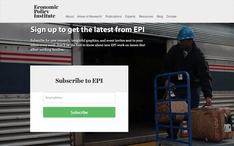 Screenshot of Signup Page epi.org - Sign up to get the latest from EPI | Economic Policy Institute - captured Sept. 27, 2018