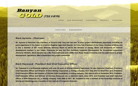 Screenshot of Team Page banyangold.com - Management — Banyan Gold Corp. - captured Feb. 7, 2016