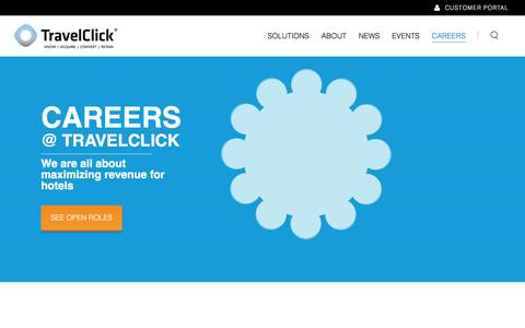 Screenshot of Jobs Page travelclick.com - Hospitality Industry Careers - Apply Today - TravelClick - captured April 21, 2018