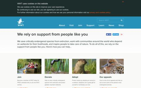 Screenshot of Support Page wwt.org.uk - WWT - We rely on support from people like you - captured Oct. 30, 2017