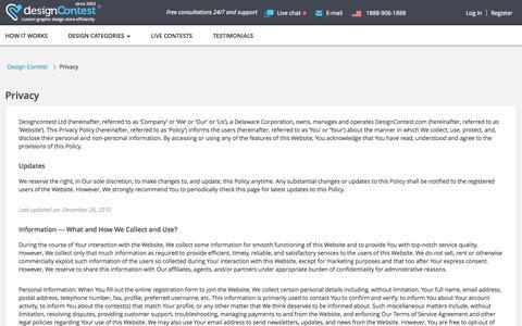 Screenshot of Privacy Page designcontest.com - DesignContest - Privacy Default - captured Sept. 18, 2014