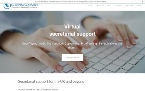 Screenshot of Home Page ldsecretarialservices.com - LD Secretarial Services - UK virtual office secretary - captured July 9, 2016